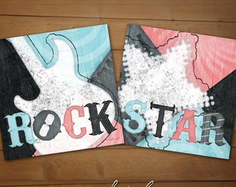 "Rock & Roll Girl Bedroom Prints -  ""Rockstar"" Collection - SET OF TWO 12x12 Coral/Robin Egg Giclée Art Print Set - Children's Decor"