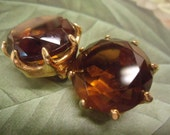 Vintage Earrings Amber Faceted Glass Earrings Costume Jewelry