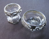 Two Vintage Glass & Silver Deposit Overlay Salt Cellars
