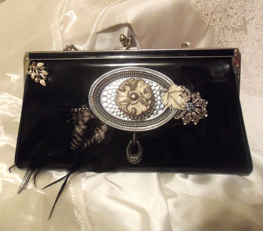 Black Formal Clutch Steampunk Glamor Purse By HopscotchCouture