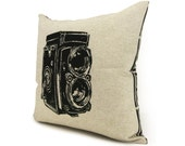 Vintage Camera Photo Print On 16x16 Modern Pillow | Decorative Throw Pillow Case | Black, Beige & Geometric Accent Cushion Cover