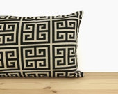 Black and Beige Geometric Pillow Cover, Modern & Urban Home Decor | 12x18, 16x16, 18x18 or 20x20 inches | Greek Key Pattern Pillow Case
