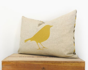 12x18 bird pillow cover | Mustard yellow, gray and natural beige decorative pillow case | Modern lumbar cushion cover with geometric pattern