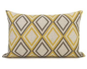 Geometric decorative pillow case, cushion cover in taupe gray and mustard yellow | 16x16 / lumbar 12x18 inches throw pillow case