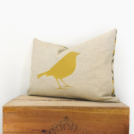 12x18 bird pillow cover - Mustard yellow, gray and natural beige decorative pillow case - Modern lumbar cushion cover with geometric accent