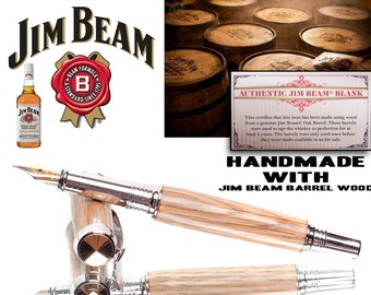 Fountain Pen made with wood from a Jim Beam Tennessee Oak wooden barrel