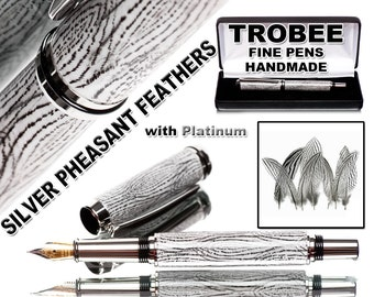 Silver Pheasant Feather pen fountain style world class authentic writing instrument