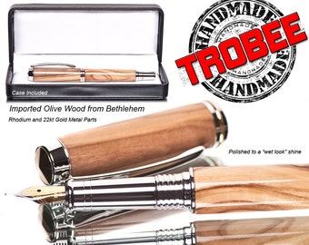 Unique Olivewood fountain pen. handmade Olive wood from the Holyland was made on a lathe by hand - Gift pen