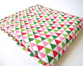Geometric Baby Blanket - Triangles in Pink, Green and White - Remix by Robert Kaufman - White MInky Dot - 26 x 30