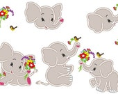 SET Little Elephant set with a flower and little bird - set 3 types INSTANT DOWNLOAD  Machine Embroidery Designs, for  hoop 4x4, 5x7
