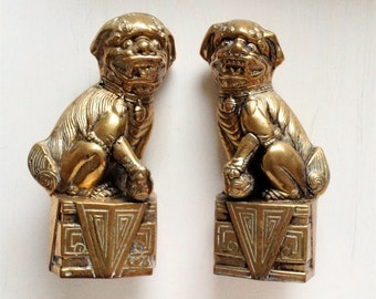 Antique Brass Foo Dog Statues