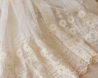 Off White Cotton Aulic Embroidered Lace Fabic 15.7 Inches Wide 1 yard