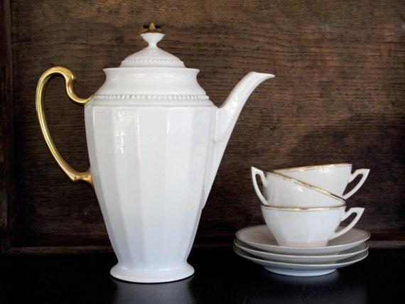 deco tea set vintage cafe au lait cups by frenchmelody
