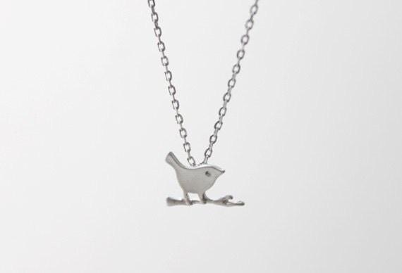 Tiny Bird on a Branch Necklace - S2298 -1