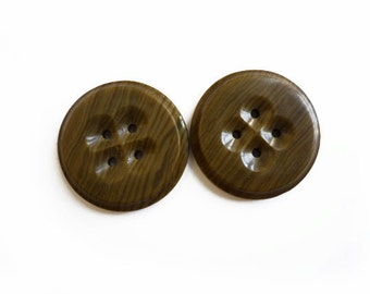 2 Vintage Buttons, Large Brown Buttons