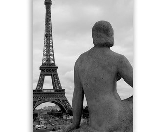 """Paris Photography, Paris Decor, Eiffel Tower Decor, Paris Photos, Paris Statue - """"Eiffel Lady"""" - Fine Art Photograph B&W"""