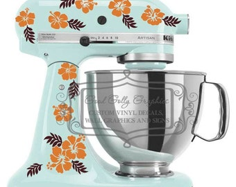 Kitchen mixer vinyl decal set 40 piece hibiscus flowers and leaves with choice of two colors