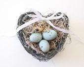 Wedding Heart Bird Nest Ring Pillow. shabby chic wedding decor. heart nest. heart ring pillow alternative. ring bearer pillow. ring holder