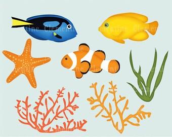 Fish clip art images, clip art fish, fish clipart,  royalty free clip art- Instant Download
