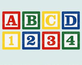 Alphabet blocks clip art images, baby blocks clip art, alphabet clip art, royalty free images- Instant Download