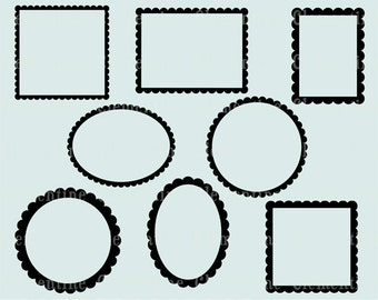 Scalloped clip art frames,  clipart frames, scalloped frame,  royalty free clip art images- Instant Download