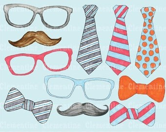Hipster clip art images, moustache clip art, tie clip art, royalty free clip art- Instant Download