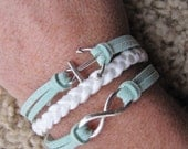 USA Seller- White and Mint Anchor and Infinity Friendship Charm Bracelet