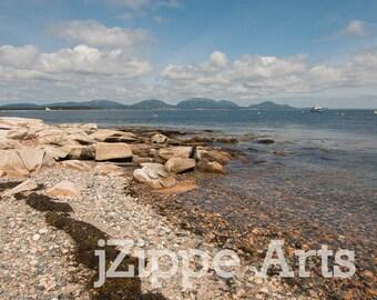 Beach Rocks, Rocky Shoreline, Rocky Beach, Rocky Coast Wall Art, Beach Pebbles, Baker Island Maine Shore, Acadia Landscape Print 8x10