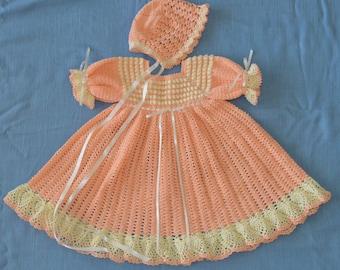 Crochet Dress, Bonnet, Headband, & Slippers  - CUSTOM ORDER