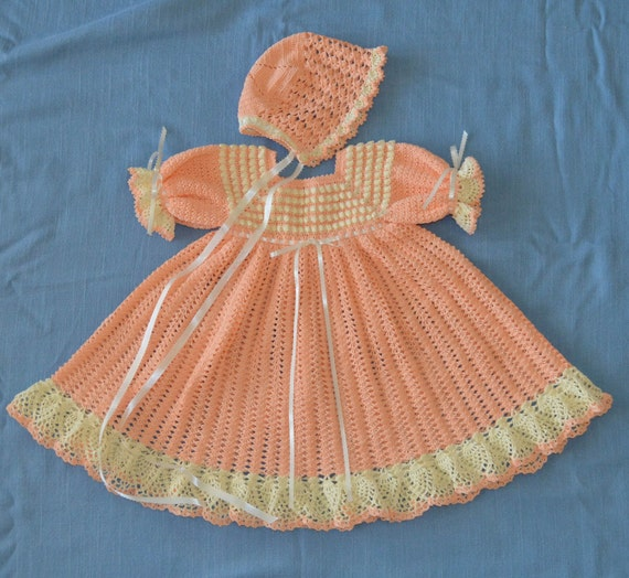 Crochet Dress, Bonnet, Headband, & Slippers  - CUSTOM ORDER