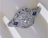 Art Deco Filigree Diamond & Sapphire Engagement Ring .65cts (I VS2-SI1)