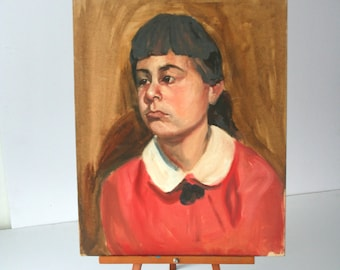 Vintage Portrait Painting: Unhappy Young Girl 1960s