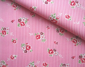 Japanese Fabric Kokka, Pink Rose Fabric, Pink Fabric, Pink Striped Fabric, Country Fabric, Shabby Chic, Floral Fabric/Kate Rose/half yard