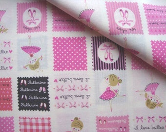 Japanese Fabric Cotton Kokka - Sweet Ballerina - half yard