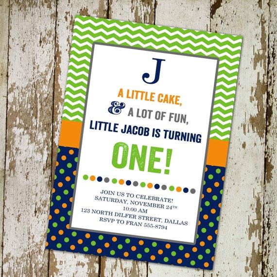 1st birthday party invitation with custom  digital, printable file (item 208)