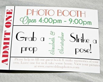 PRINTABLE Photo booth Ticket/Cards in mint and coral