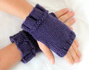 Purple Fingerless Gloves, Gloves, Mittens, Wrist Warmers, Hand Warmers, Fingerless Mittens, Texting Gloves, Hand Knit Gloves, Ready to Ship