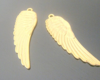 Matte gold angel wings, leaf, pendant, connector, charms, 2 pc, S51694