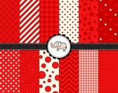 Digital Paper Pack - Red Digital Paper Pack - Personal & Commercial - Instant Delivery