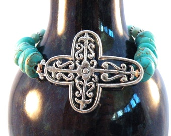 Turquoise Silver Cut Out Side Cross Beaded Leather Bracelet / Side Cross/ Urban Luxe Boho Chic/ Free Shipping