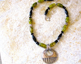 Long, Bold Onyx & Agate Necklace