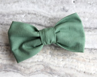 Bow Tie in Solid Sage Green for Men or Boys - Clip on, Pre-tied with strap or self tying - Wedding or Ring bearer attire