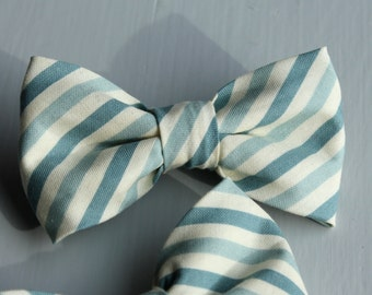 Bowtie in Teal Blue Stripes - clip on - ring bearer attire, groomsmen neckwear, gift
