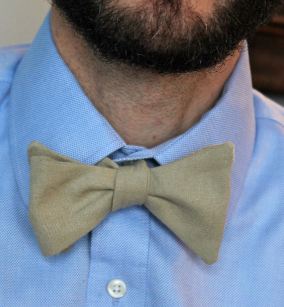 Men's Bow Tie in Natural Linen - Self tying - freestyle, pre-tied with adjustable strap or self tying