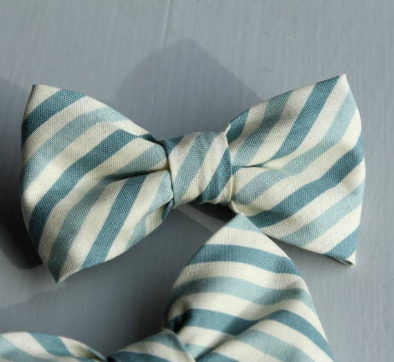 Bowtie in Teal Blue Stripes - clip on - ring bearer attire, groomsmen neckwear, gift