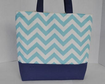SALE Large Nautical Tote Beach Bag Girly Blue and White ZigZag Chevron and Blue Canvas ready to ship now