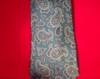 SALE SALE     Paisley tie.  Aqua. turquoise. grey light and dark colors. Beautiful.