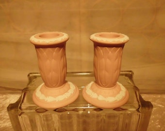 Pair Wedgewood Jasperware  Candlesticks Pink and White  Queensware Excellent