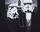 star wars American Gothic parody on womens t shirt- american apparel black, available in S,M, L ,XL, 2XL,  worldwide shipping