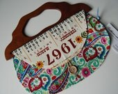 1967 Colorful Calendar Girl Vintage Towel purse with wooden handle